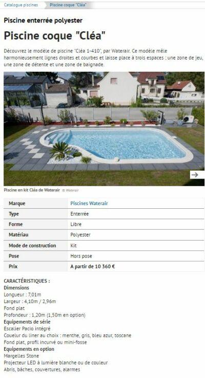 Un exemple de fiche produit dans le catalogue piscine
