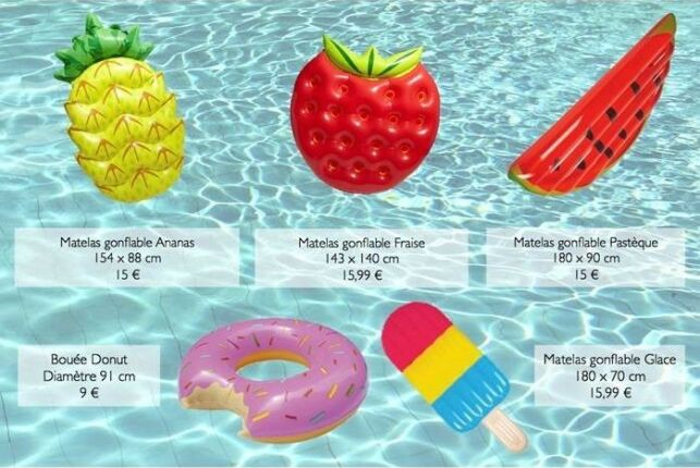 Nouvelle gamme de matelas gonflables en forme de fruits, par Gifi
