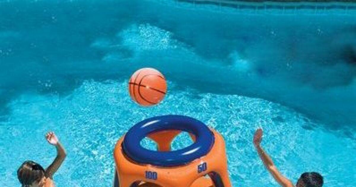 Panier de basket gonflable g ant pour piscine - Panier de basket gonflable ...
