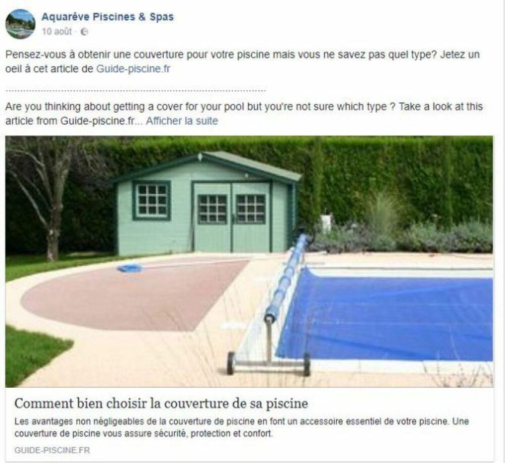 Partage d'un article sur la piscine© Page Facebook Aquarêve Piscines et Spas
