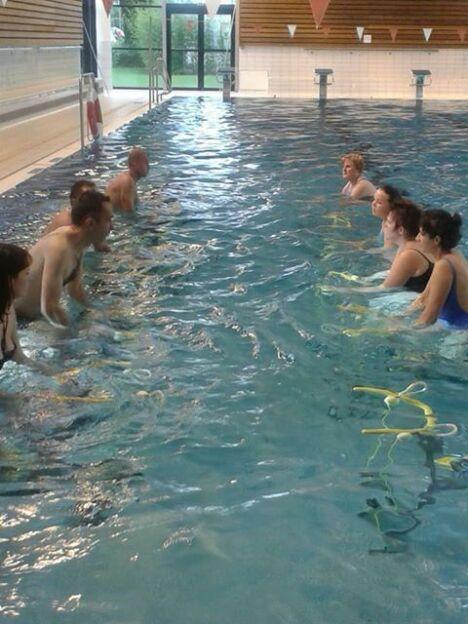 """La piscine Beau Soleil de Questembert propose des cours d'aquabike.<span class=""""normal italic"""">DR</span>"""