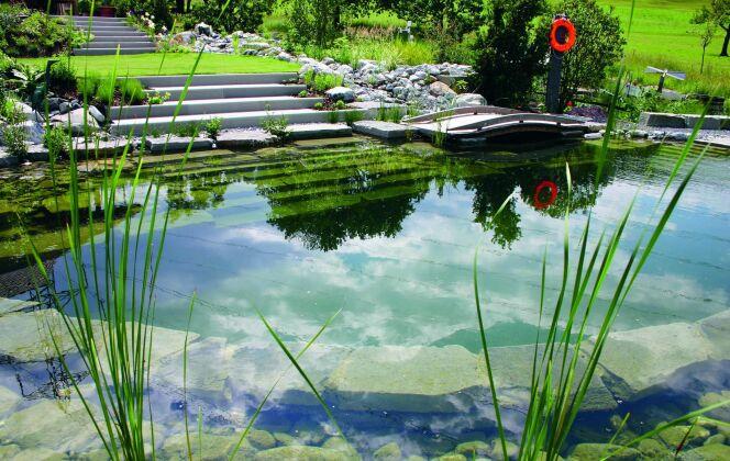 Piscine bio en totale harmonie avec le jardin © Living-Pool de BIOTOP - www.baignade-ecologique.com