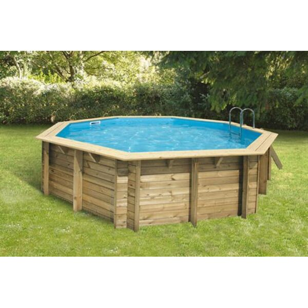 Piscine hors sol bois ronde bahia first for Piscine structure bois