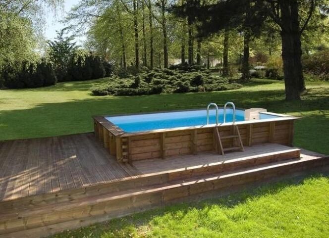 Les plus belles photos de piscines bois hors sol semi for Piscine carree semi enterree