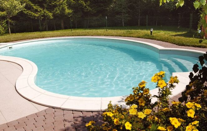 Piscine haricot Waterair Céline. Modèle : Celine 08, Taille : 7,95 x 5,00 x 2,80 m, Equipement : Roman, Liner : Provence  © Waterair