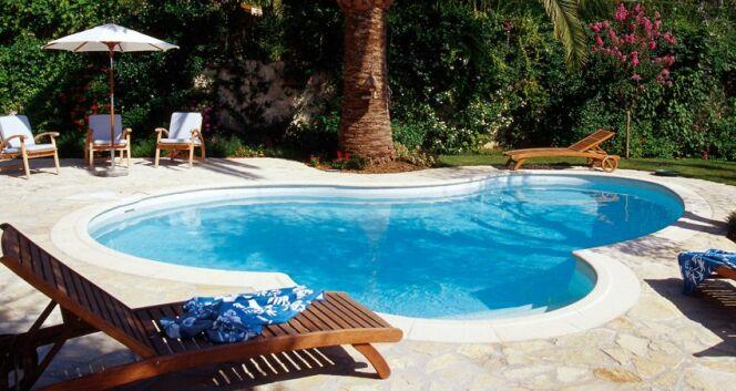 Piscine haricot Waterair Céline. Modèle : Celine 08, Taille : 7,95 x 5,00 x 2,80 m, Equipement : Roman, Liner : Provence© Waterair