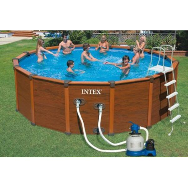 Piscine hors sol sequoia spirit aspect bois for Piscine hors sol pvc arme