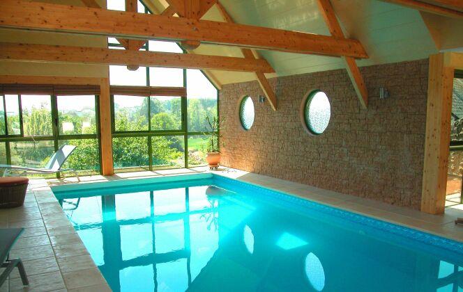 Piscine intérieure entourée de carrelage et murs de pierre claire, poutres de bois et vue sur verdure  © L'Esprit Piscine