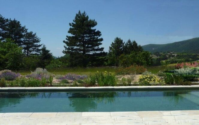 Piscine naturelle, filtre planté et jardin sec DR
