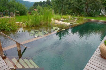 "Piscine naturelle : un bassin bio dans votre jardin<span class=""normal italic petit"">© BioTop</span>"