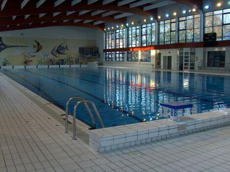 Les plots de départ de la piscine olympique à Chalons en Champagne