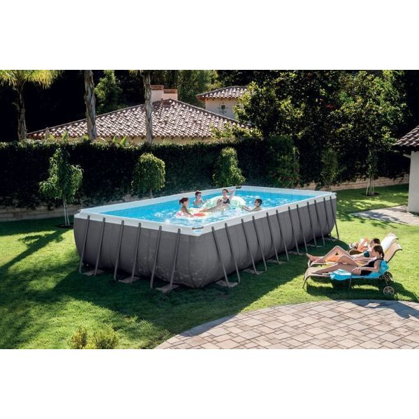 Piscine tubulaire rectangulaire ultra silver intex - Piscine hors sol rectangulaire intex ...