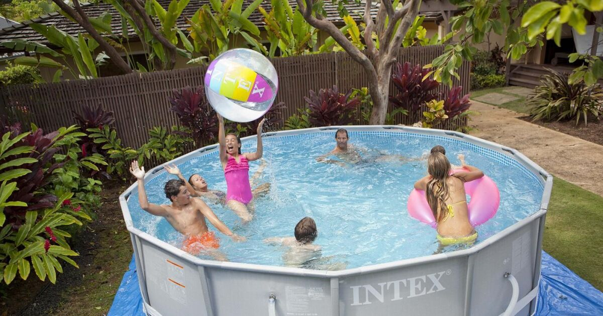 Piscine gonflable jumbo for Piscine autoportee intex leclerc