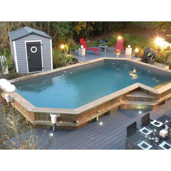 Piscine en bois sur mesure bluewood for Piscine semi enterre bois