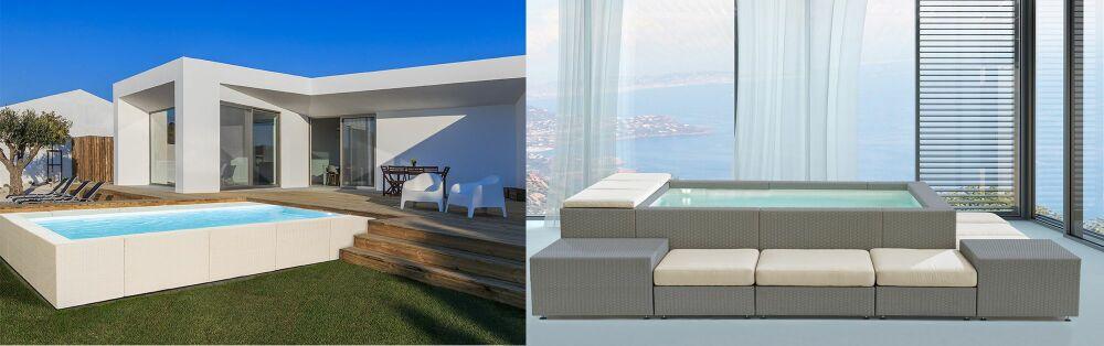 Piscines Dolce Vita (à gauche) et Playa Living (à droite)© Fluidra