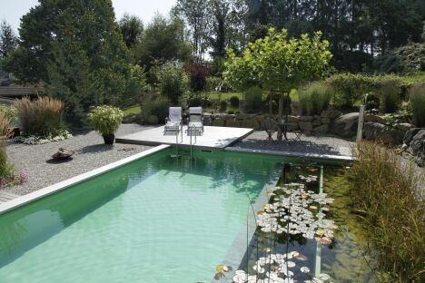 """Piscine naturelle dans un jardin de charme<span class=""""normal italic petit"""">© Living-Pool de BIOTOP - www.baignade-ecologique.com</span>"""