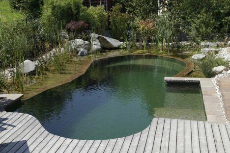 """Piscine naturelle avec margelles en bois<span class=""""normal italic petit"""">© Living-Pool de BIOTOP - www.baignade-ecologique.com</span>"""