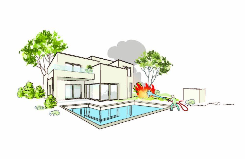 Pool Fire Protect : votre piscine vous protège des incendies © Astralpool