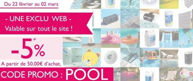"""Promos du moment chez Desjoyaux : -5% sur tout le site !<span class=""""normal italic petit"""">© Piscines Desjoyaux</span>"""