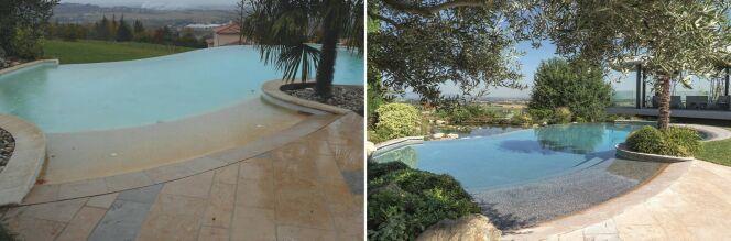Avant (à gauche) et après (à droite) rénovation de la piscine par Diffazur Piscines.