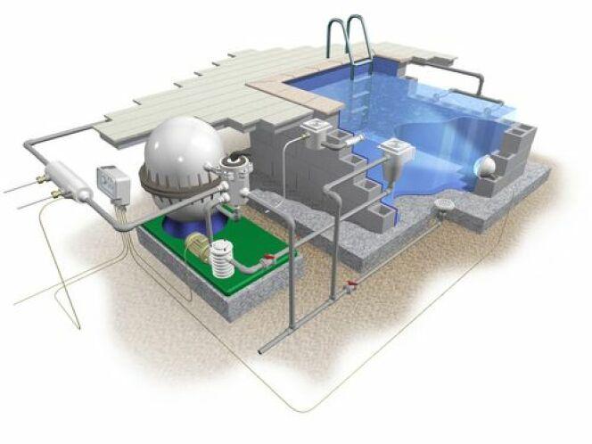 """Schéma du système de filtration d'une piscine<span class=""""normal italic petit"""">© Olga Rutko</span>"""