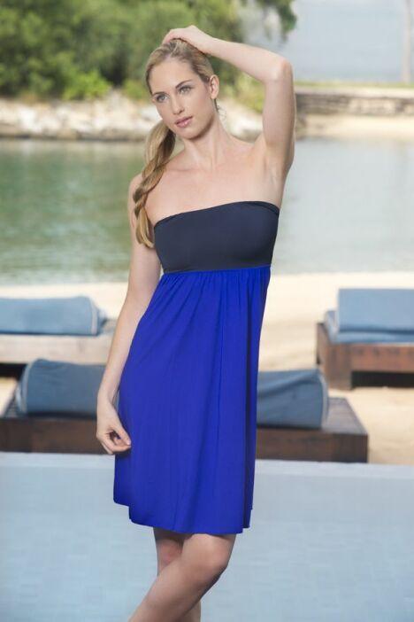 "Robe de plage bustier bleu azur et marine Jog Swimwear<span class=""normal italic petit"">© Jog Swimwear</span>"