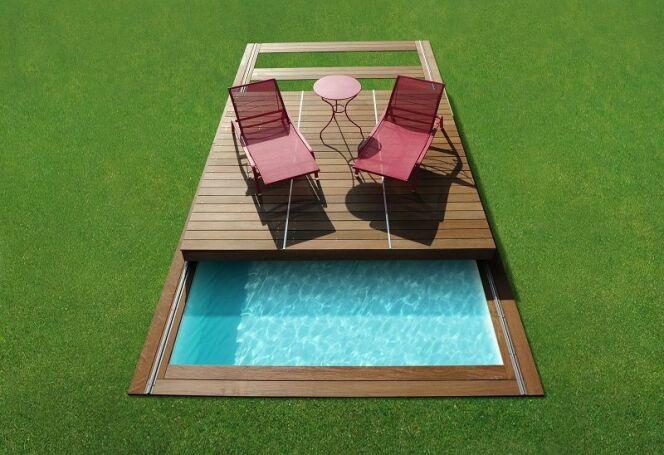Rolling-Deck de Piscinelle : pas besoin de déménager votre mobilier pour transformer votre couverture en terrasse.