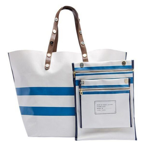 sac de plage marin blanc et bleu marc jacobs. Black Bedroom Furniture Sets. Home Design Ideas