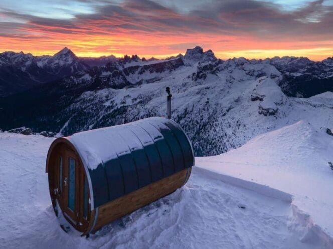 Sauna à 3000m d'altitude en Italie