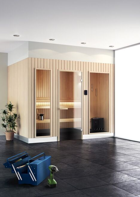 "Sauna Evolve Elegance de Tylo<span class=""normal italic petit"">© Nordique France</span>"