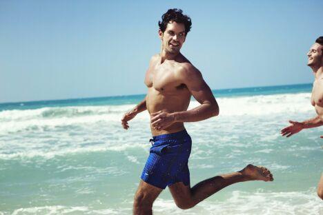 "Short de bain à carreaux bleu Speedo homme 2013<span class=""normal italic petit"">© Speedo</span>"