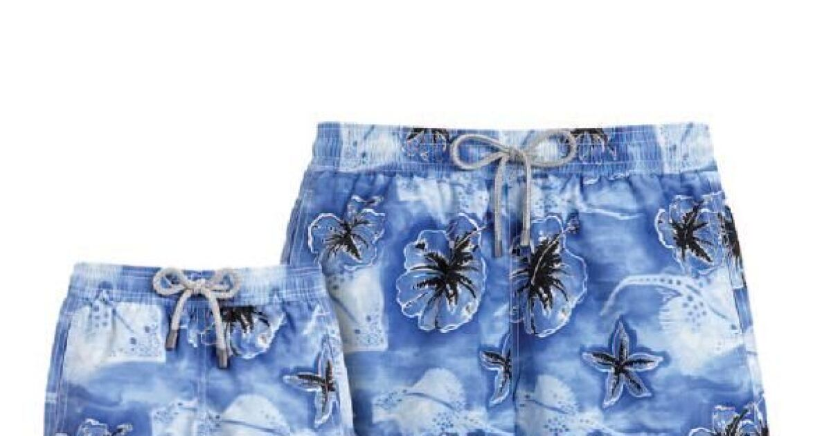 Short de bain bleu fleurs exotiques pour homme fa vilebrequin t 2013 - Monceau fleurs porte maillot ...