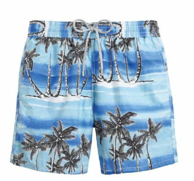 Short de bain bleu motifs palmiers Tuamotu