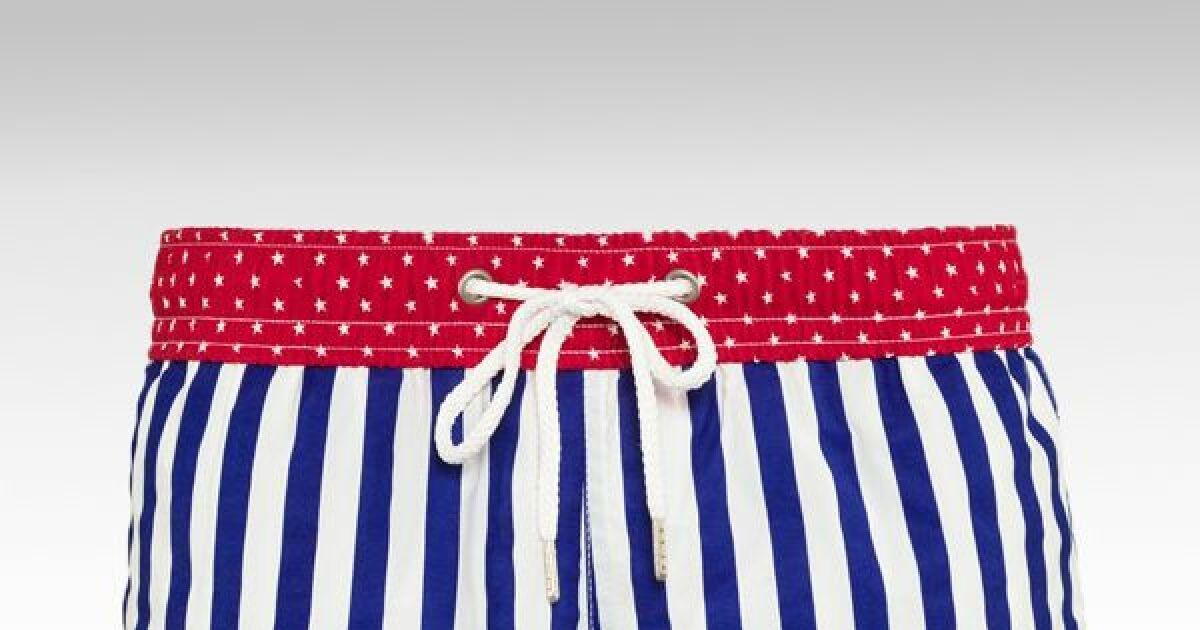 short de bain enfant gar on drapeau am ricain par soobaya. Black Bedroom Furniture Sets. Home Design Ideas