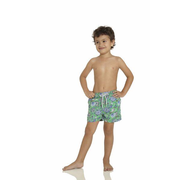 Short de bain enfant gar on vert et bleu fleurs for Short de bain piscine