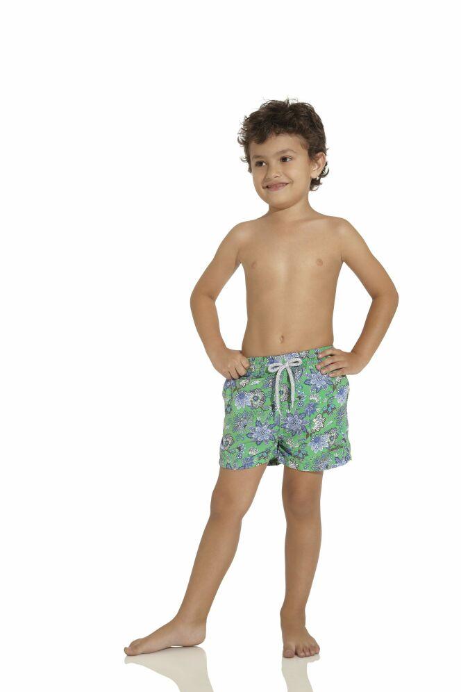 Short de bain enfant garçon vert bleu à fleurs OndadeMar 2013