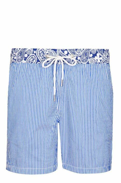 """Short de bain homme Navy rayé bleu et blanc détail original Soobaya été 2013<span class=""""normal italic petit"""">© Soobaya</span>"""