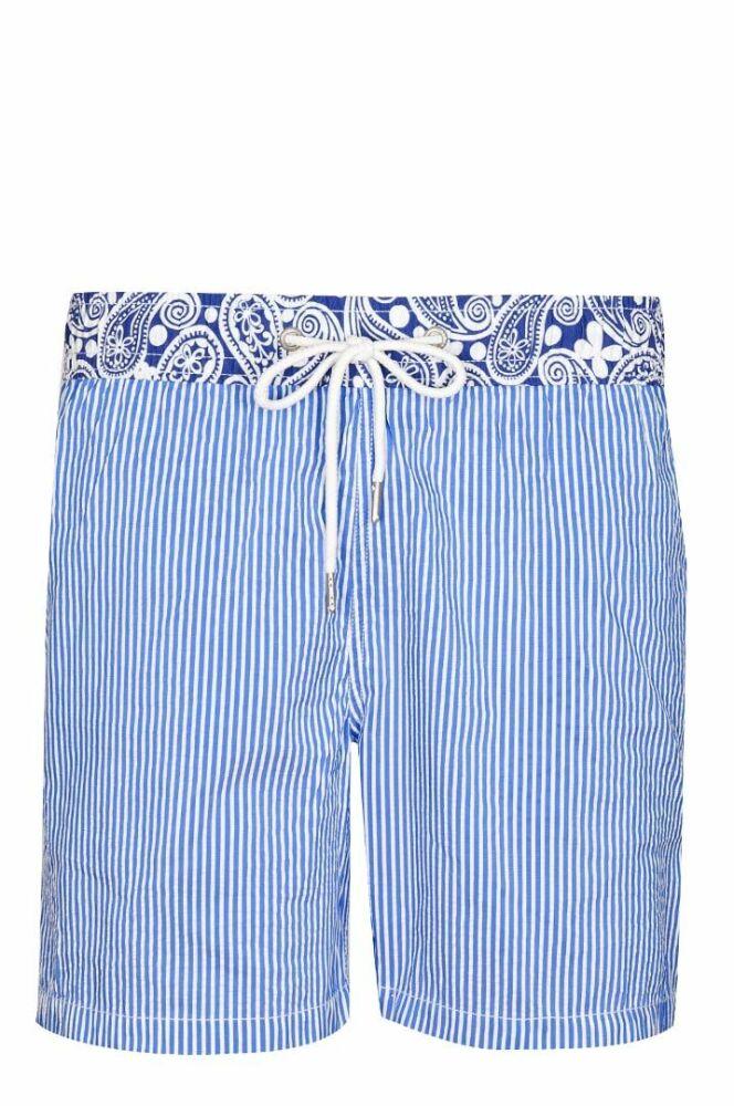 Short de bain homme Navy rayé bleu et blanc détail original Soobaya été 2013