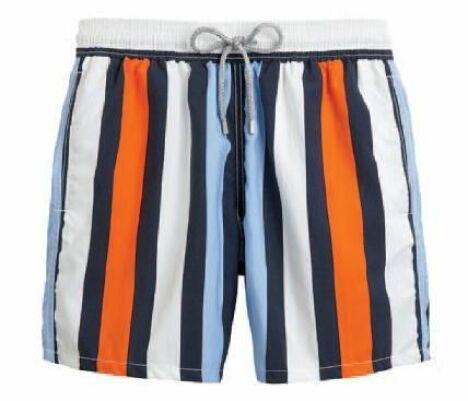 """Short de bain pour homme à rayures verticales coloris Transat (orange et bleu) Vilebrequin<span class=""""normal italic petit"""">© Vilebrequin</span>"""