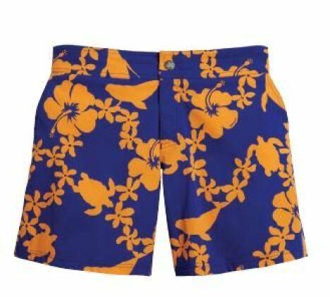 Short de bain pour homme bleu à fleurs exotiques orange, modèle Merise Tohora