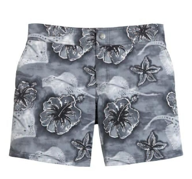 Short de bain pour homme gris à fleurs exotiques, modèle Merise Faï