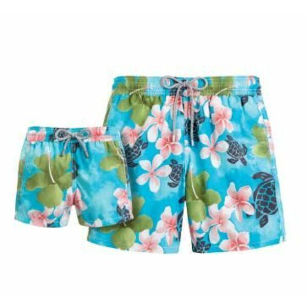 Short de bain pour homme fleurs exotiques et tortues for Short piscine homme