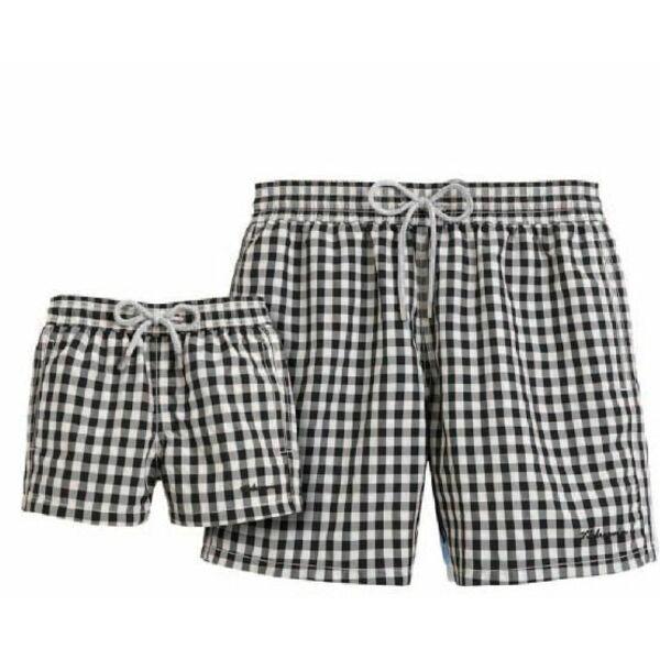 Short de bain pour homme vichy noir et blanc vilebrequin for Short piscine homme