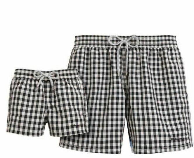 Short de bain Vichy noir et blanc Vilebrequin été 2013