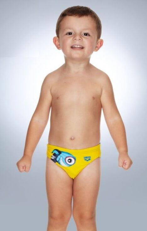 "Slip de bain pour enfant garçon jaune cartoon<span class=""normal italic petit"">© Arena</span>"