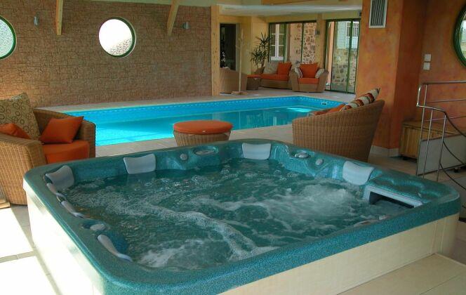 Soigneusement aménagée, cette pièce comporte une piscine et un spa, de quoi profiter de tous les bienfaits de l'eau © L'Esprit piscine