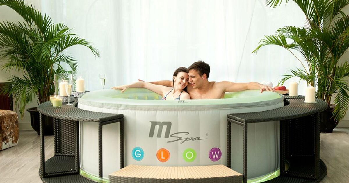spa gonflable 4 places oasis glow lite par mspa. Black Bedroom Furniture Sets. Home Design Ideas