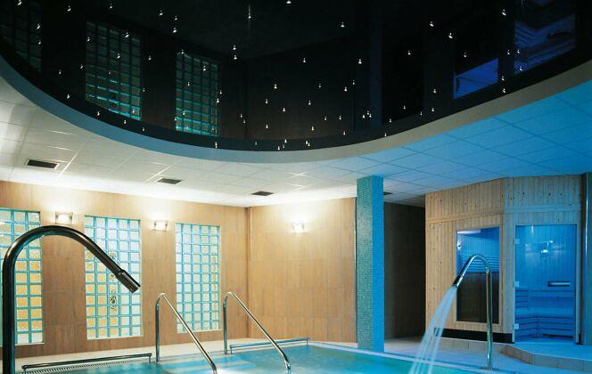 Spa de nage Hydrospa V avec mosaïque bleue et plafond étoilé. © Clair Azur Spas