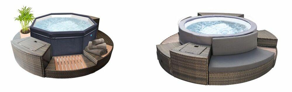 Spas Netspa, modèle Octopus (à gauche) et Vita Premium (à droite) © Netspa