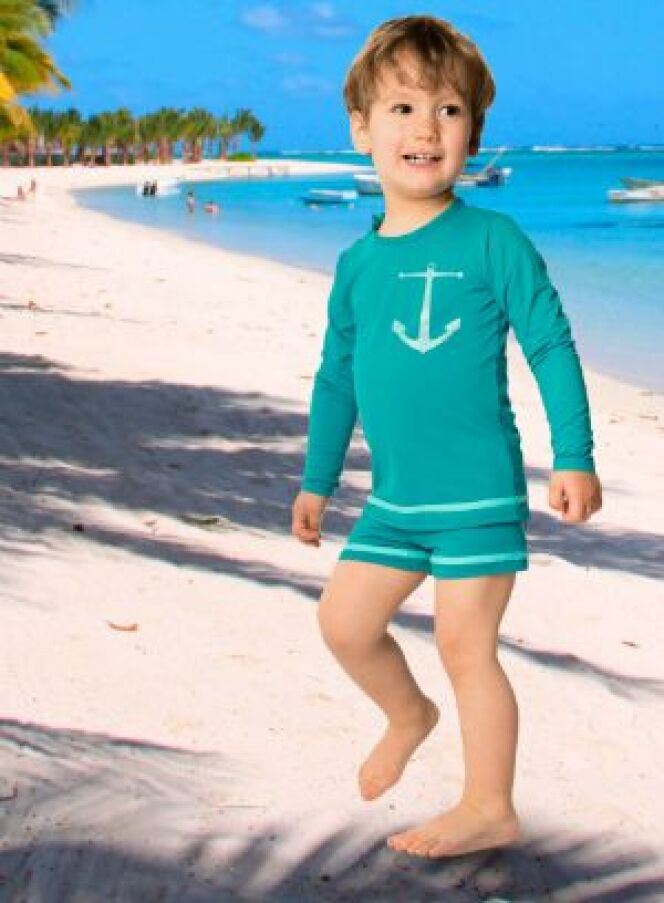 T-shirt anti UV pirate & shorty enfant Mistigri Lagon